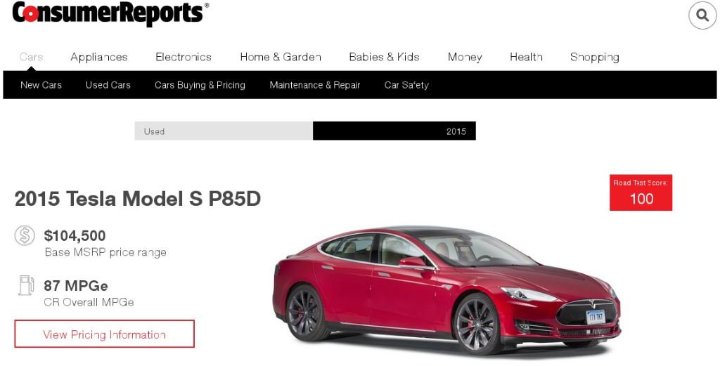 Tesla arrasa de nuevo en el road test de Consumer Reports