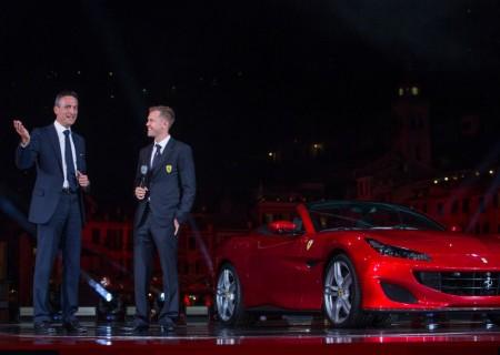 Sebastian Vettel fue padrino de la gran presentación del Ferrari Portofino