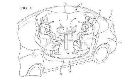 Ford patenta una mesa retráctil con airbag para vehículos autónomos