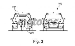 Ford patenta un concepto de movilidad con una moto integrada en Estados Unidos