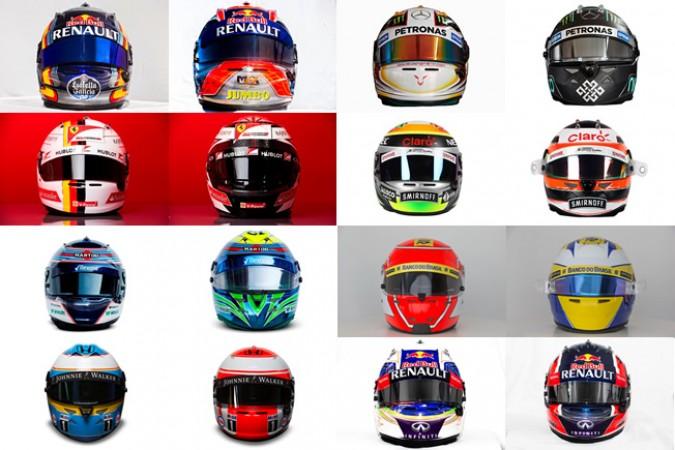 Los cascos de los pilotos de F1
